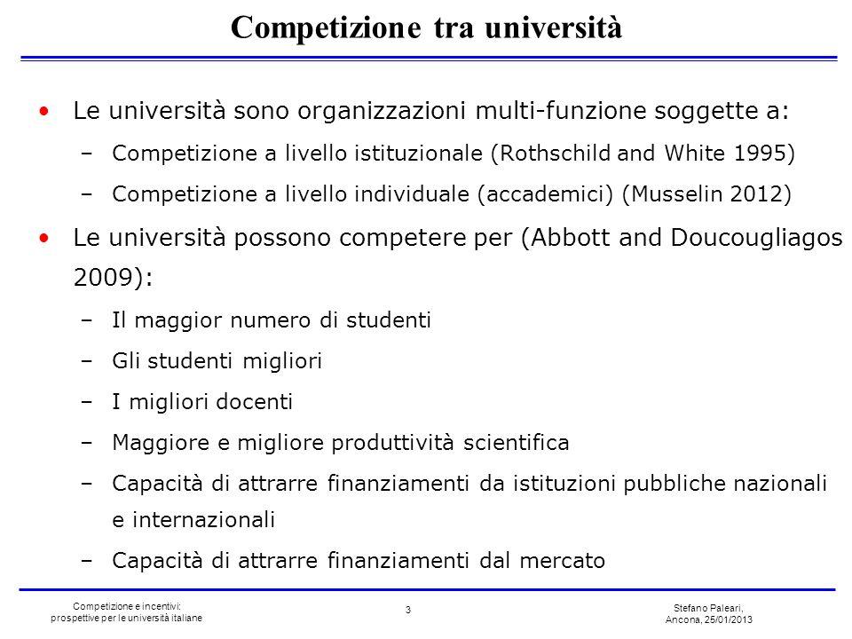 Stefano Paleari, Ancona, 25/01/2013 Competizione e incentivi: prospettive per le università italiane Le università sono organizzazioni multi-funzione
