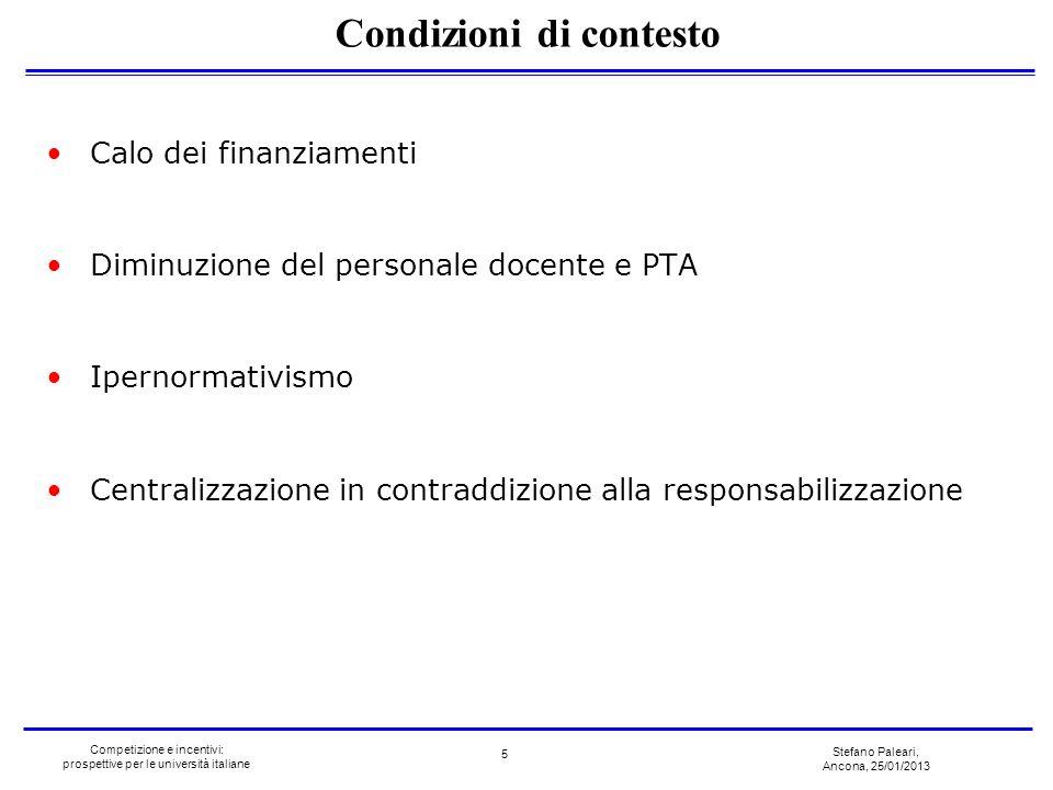 Stefano Paleari, Ancona, 25/01/2013 Competizione e incentivi: prospettive per le università italiane Calo dei finanziamenti Diminuzione del personale