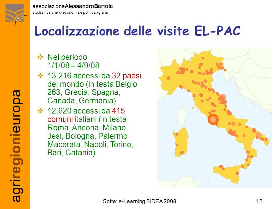 agriregionieuropa associazioneAlessandroBartola studi e ricerche di economia e politica agraria 12Sotte: e-Learning SIDEA 2008 Localizzazione delle vi