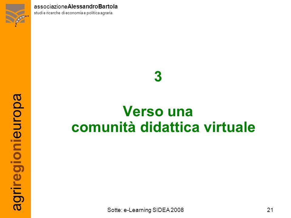 agriregionieuropa associazioneAlessandroBartola studi e ricerche di economia e politica agraria 21Sotte: e-Learning SIDEA 2008 3 Verso una comunità didattica virtuale