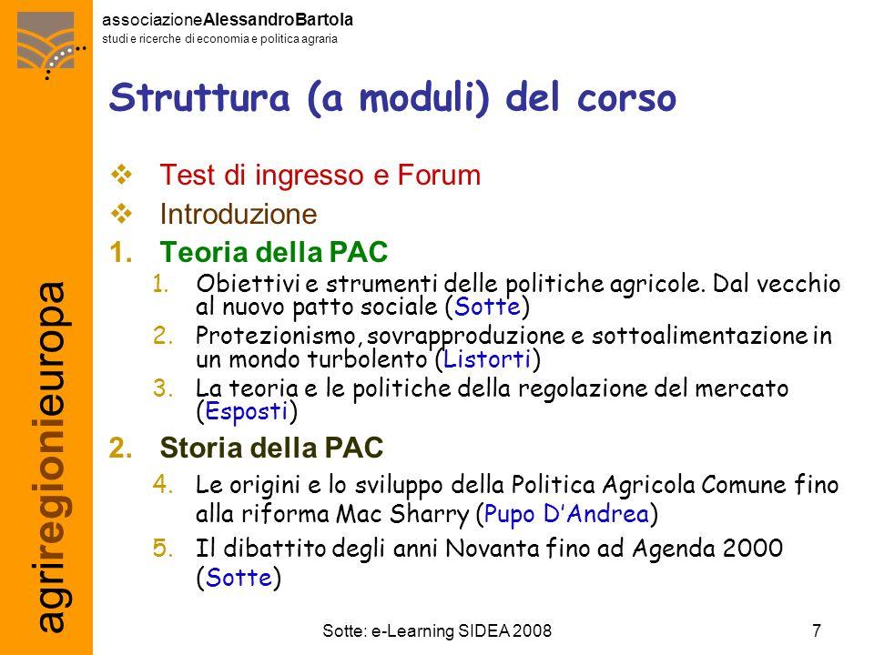 agriregionieuropa associazioneAlessandroBartola studi e ricerche di economia e politica agraria 7Sotte: e-Learning SIDEA 2008 Struttura (a moduli) del