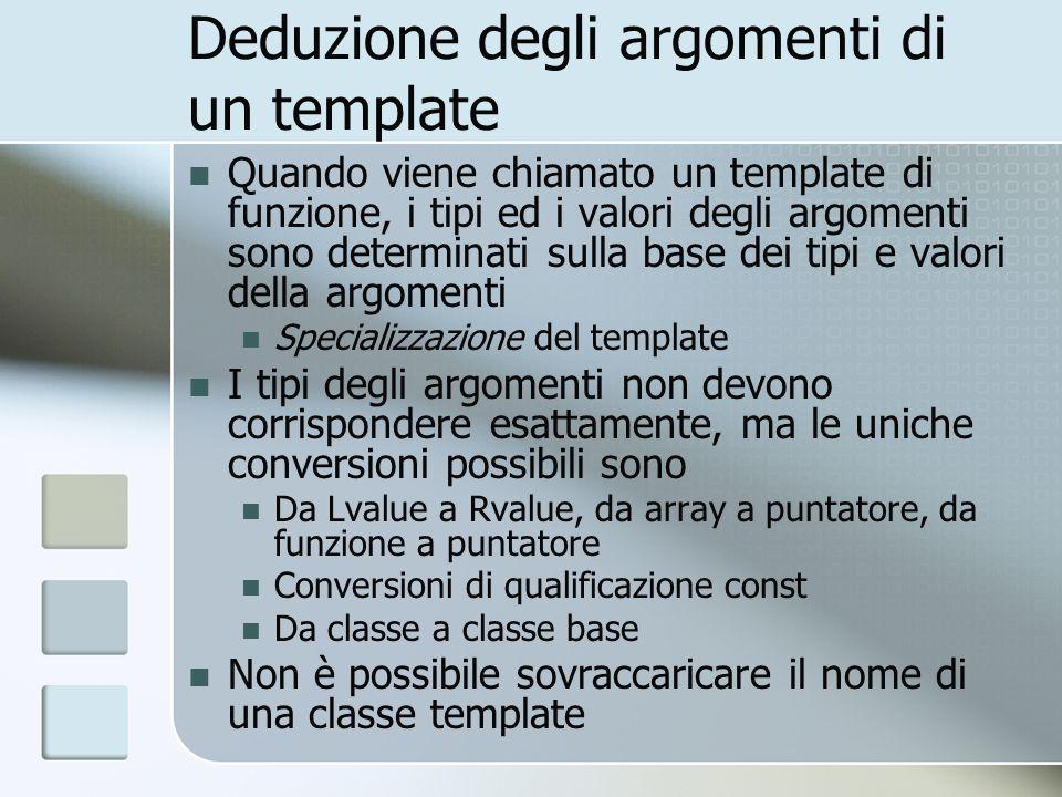 Deduzione degli argomenti di un template Quando viene chiamato un template di funzione, i tipi ed i valori degli argomenti sono determinati sulla base dei tipi e valori della argomenti Specializzazione del template I tipi degli argomenti non devono corrispondere esattamente, ma le uniche conversioni possibili sono Da Lvalue a Rvalue, da array a puntatore, da funzione a puntatore Conversioni di qualificazione const Da classe a classe base Non è possibile sovraccaricare il nome di una classe template