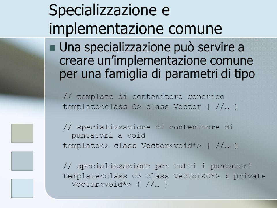 Specializzazione e implementazione comune Una specializzazione può servire a creare unimplementazione comune per una famiglia di parametri di tipo // template di contenitore generico template class Vector { //… } // specializzazione di contenitore di puntatori a void template<> class Vector { //… } // specializzazione per tutti i puntatori template class Vector : private Vector { //… }