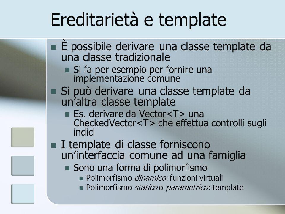 Ereditarietà e template È possibile derivare una classe template da una classe tradizionale Si fa per esempio per fornire una implementazione comune Si può derivare una classe template da unaltra classe template Es.