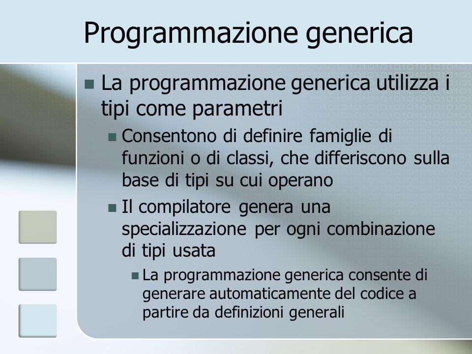 Programmazione generica La programmazione generica utilizza i tipi come parametri Consentono di definire famiglie di funzioni o di classi, che differiscono sulla base di tipi su cui operano Il compilatore genera una specializzazione per ogni combinazione di tipi usata La programmazione generica consente di generare automaticamente del codice a partire da definizioni generali