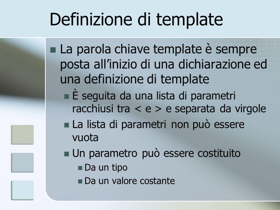 Definizione di template La parola chiave template è sempre posta allinizio di una dichiarazione ed una definizione di template È seguita da una lista di parametri racchiusi tra e separata da virgole La lista di parametri non può essere vuota Un parametro può essere costituito Da un tipo Da un valore costante