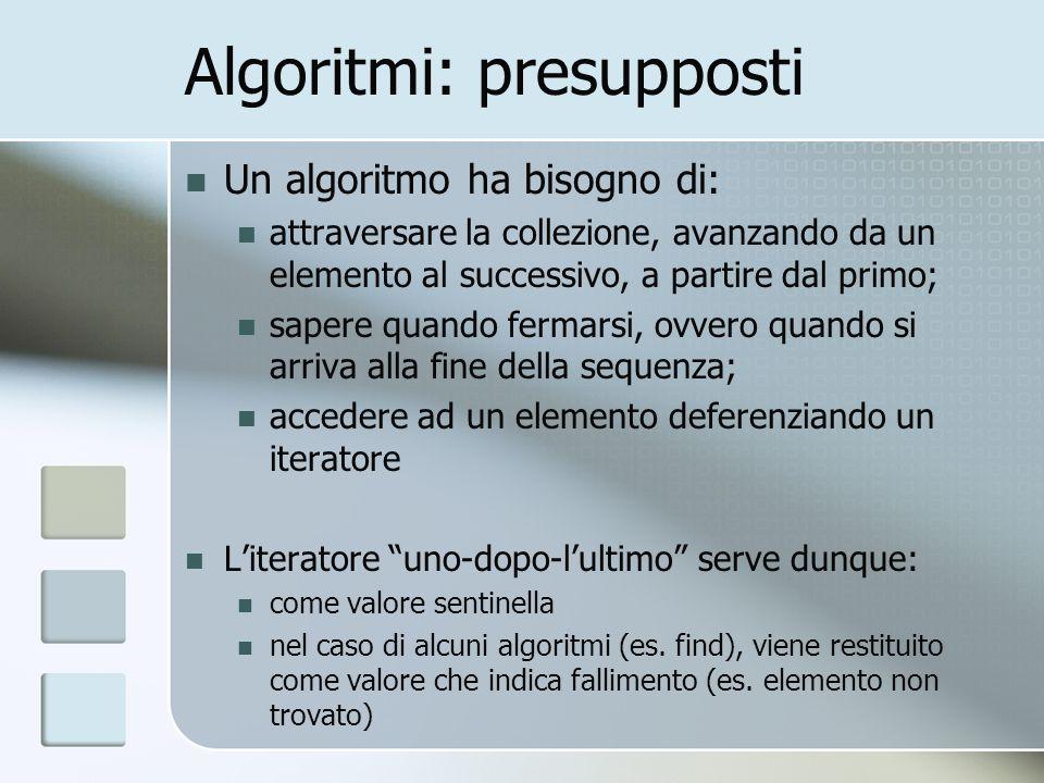 Algoritmi: presupposti Un algoritmo ha bisogno di: attraversare la collezione, avanzando da un elemento al successivo, a partire dal primo; sapere qua