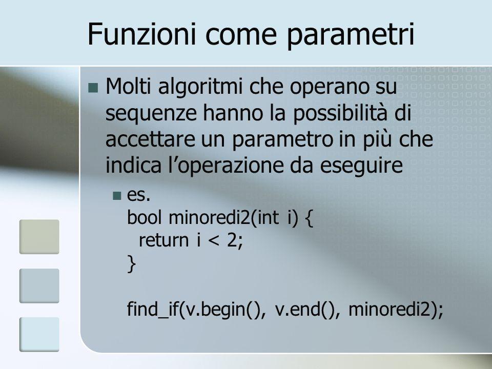 Funzioni come parametri Molti algoritmi che operano su sequenze hanno la possibilità di accettare un parametro in più che indica loperazione da esegui