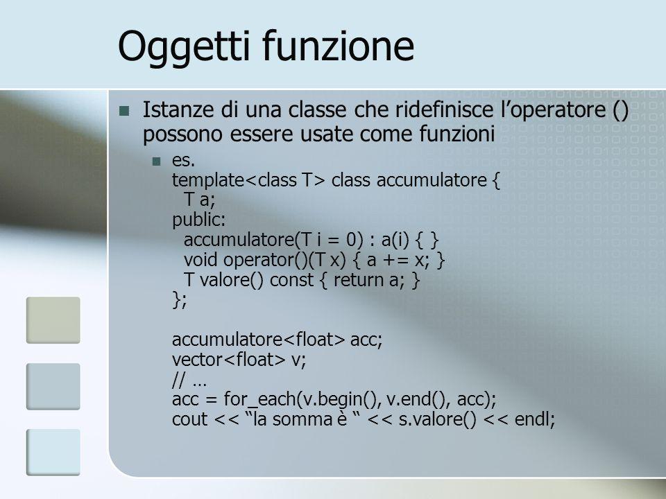 Oggetti funzione Istanze di una classe che ridefinisce loperatore () possono essere usate come funzioni es. template class accumulatore { T a; public: