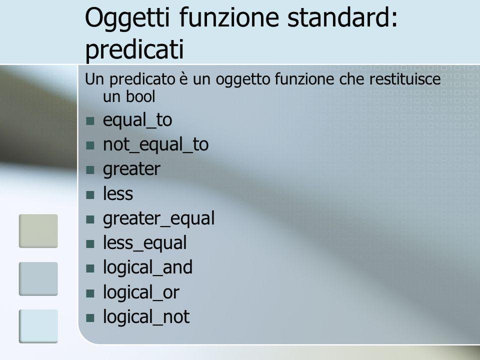 Oggetti funzione standard: predicati Un predicato è un oggetto funzione che restituisce un bool equal_to not_equal_to greater less greater_equal less_