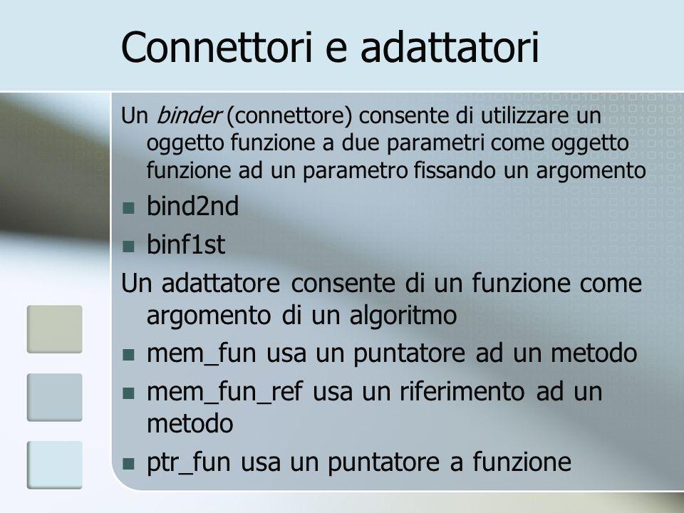 Connettori e adattatori Un binder (connettore) consente di utilizzare un oggetto funzione a due parametri come oggetto funzione ad un parametro fissan