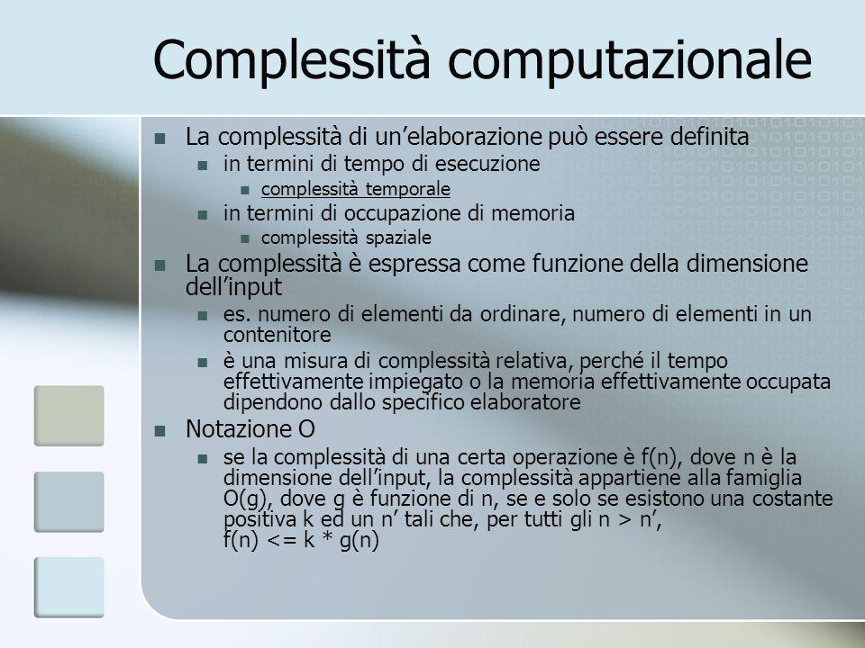 Complessità computazionale La complessità di unelaborazione può essere definita in termini di tempo di esecuzione complessità temporale in termini di