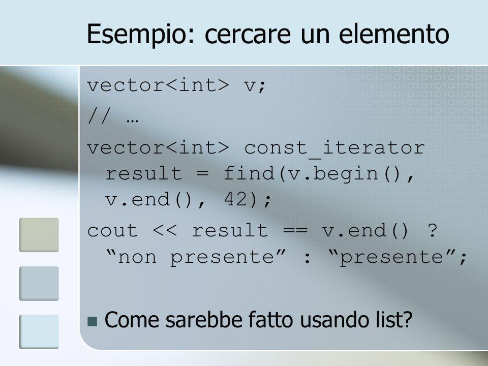 Esempio: cercare un elemento vector v; // … vector const_iterator result = find(v.begin(), v.end(), 42); cout << result == v.end() ? non presente : pr