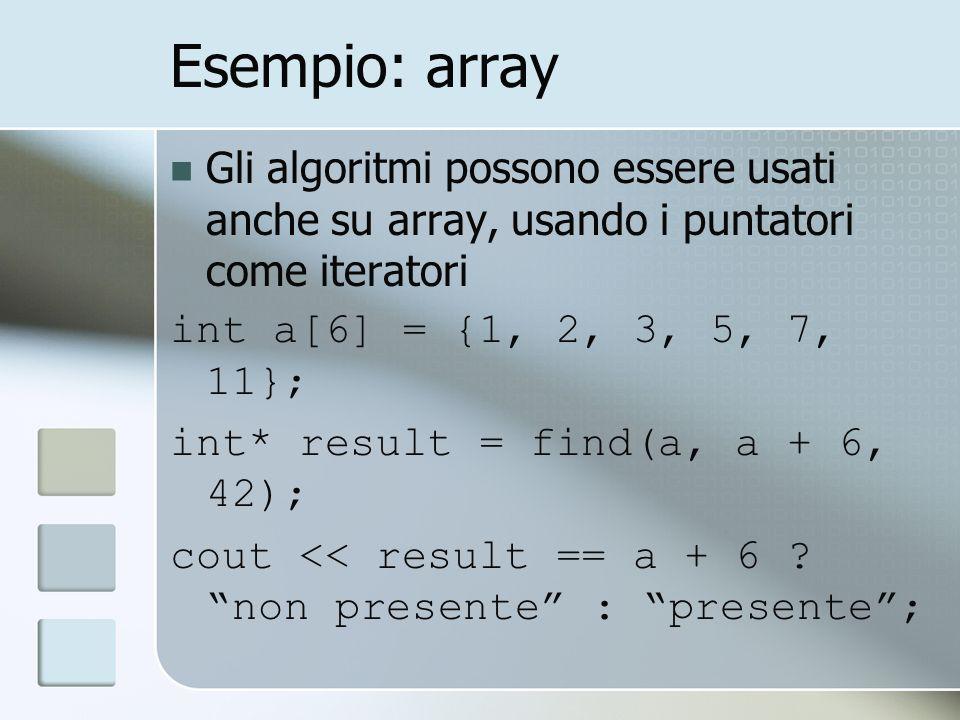 Esempio: array Gli algoritmi possono essere usati anche su array, usando i puntatori come iteratori int a[6] = {1, 2, 3, 5, 7, 11}; int* result = find