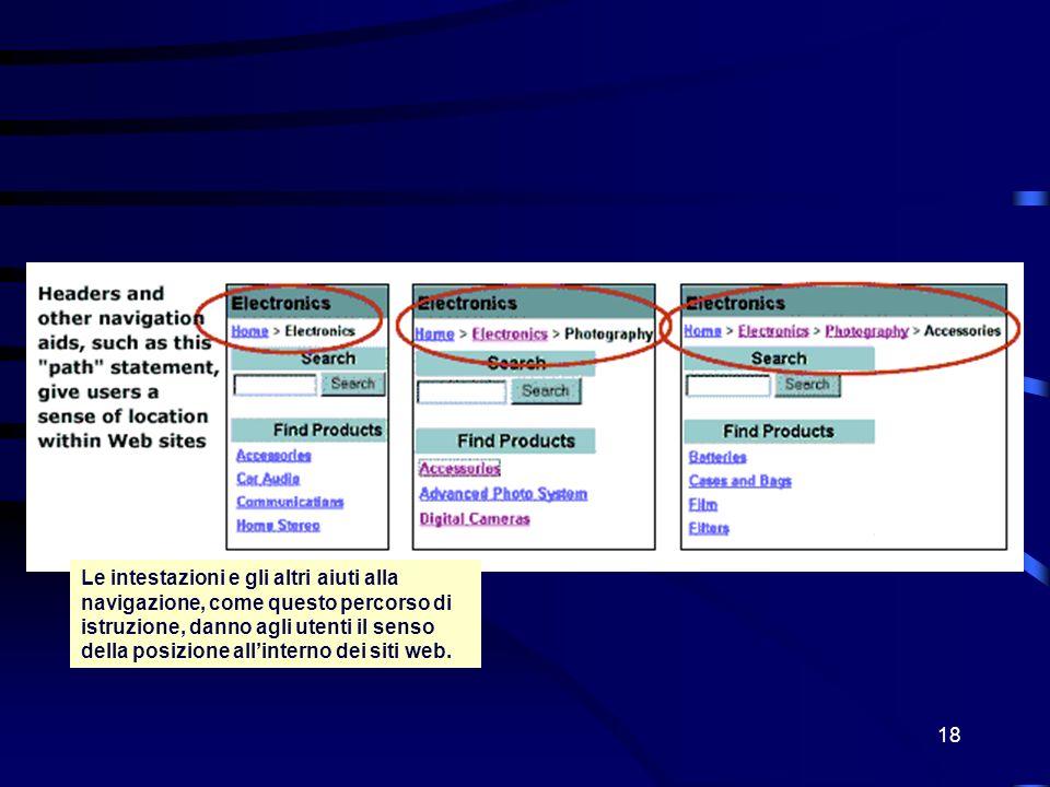 18 Le intestazioni e gli altri aiuti alla navigazione, come questo percorso di istruzione, danno agli utenti il senso della posizione allinterno dei siti web.