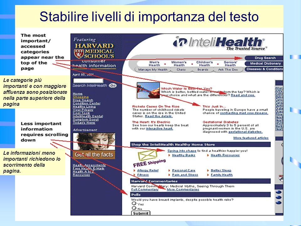 21 Stabilire livelli di importanza del testo Le categorie più importanti e con maggiore affluenza sono posizionate nella parte superiore della pagina Le informazioni meno importanti richiedono lo scorrimento della pagina.