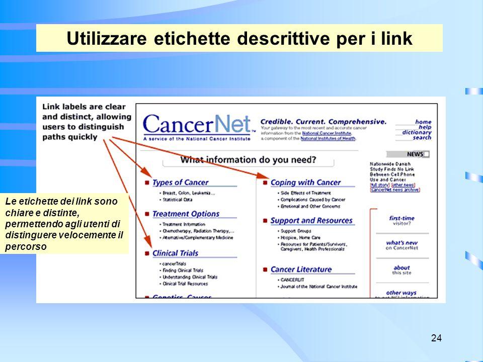 24 Utilizzare etichette descrittive per i link Le etichette dei link sono chiare e distinte, permettendo agli utenti di distinguere velocemente il percorso