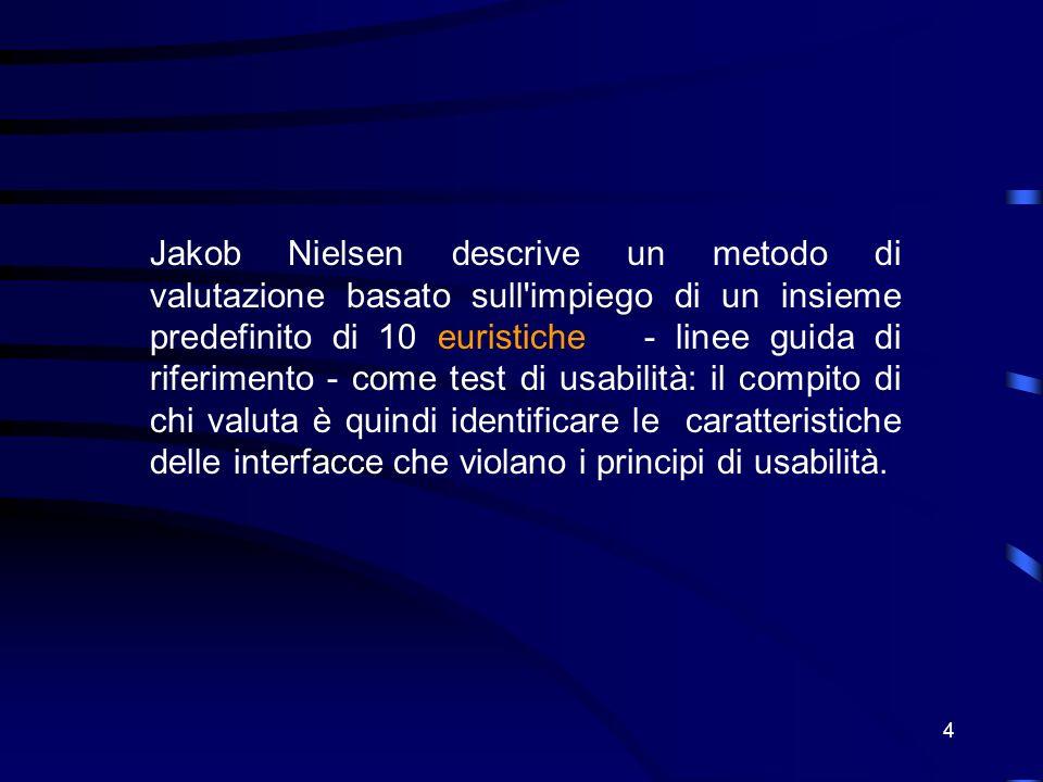 4 Jakob Nielsen descrive un metodo di valutazione basato sull impiego di un insieme predefinito di 10 euristiche - linee guida di riferimento - come test di usabilità: il compito di chi valuta è quindi identificare le caratteristiche delle interfacce che violano i principi di usabilità.