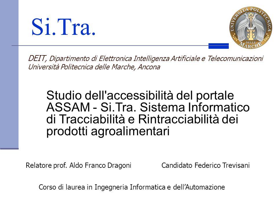 Si.Tra. Candidato Federico TrevisaniRelatore prof. Aldo Franco Dragoni Corso di laurea in Ingegneria Informatica e dellAutomazione DEIT, Dipartimento