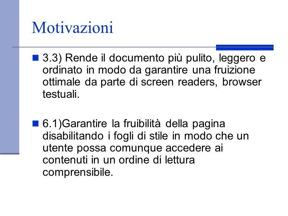Motivazioni 3.3) Rende il documento più pulito, leggero e ordinato in modo da garantire una fruizione ottimale da parte di screen readers, browser tes