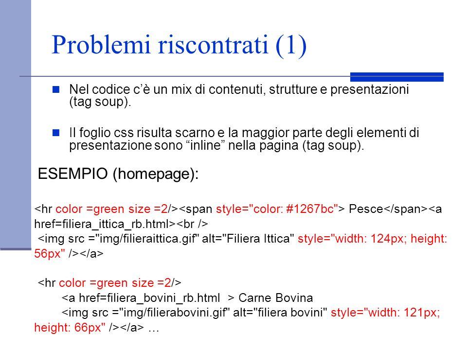 Problemi riscontrati (1) Nel codice cè un mix di contenuti, strutture e presentazioni (tag soup). Il foglio css risulta scarno e la maggior parte degl