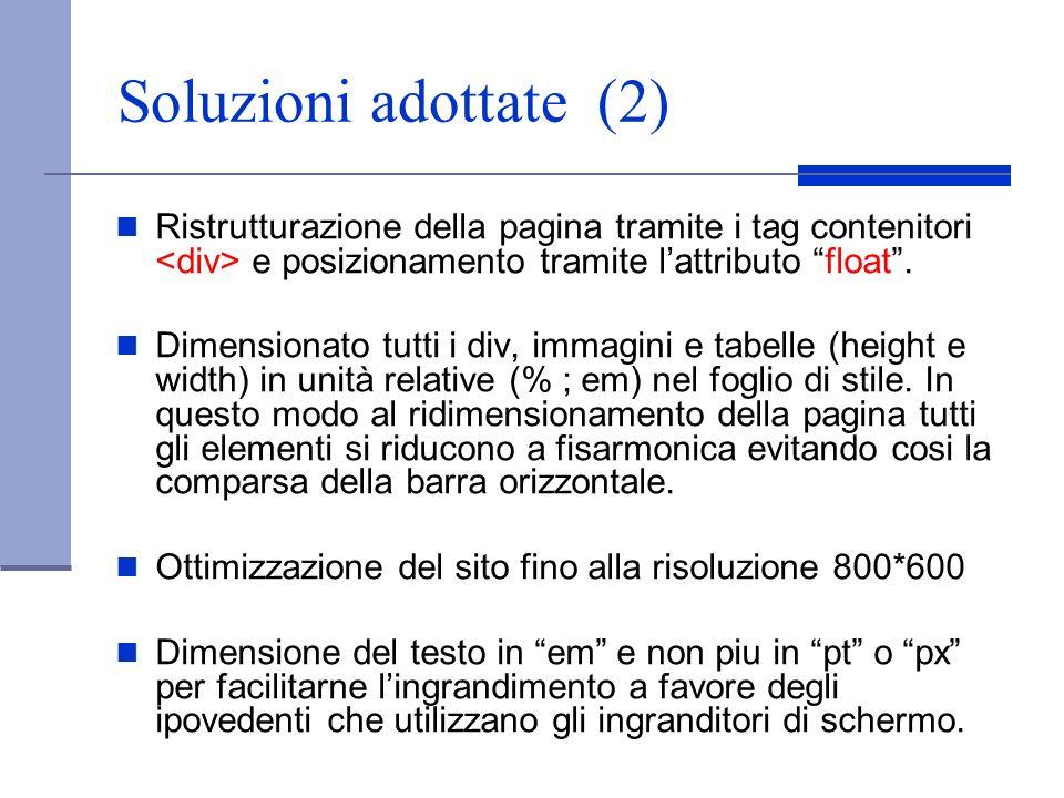 Soluzioni adottate (2) Ristrutturazione della pagina tramite i tag contenitori e posizionamento tramite lattributo float. Dimensionato tutti i div, im