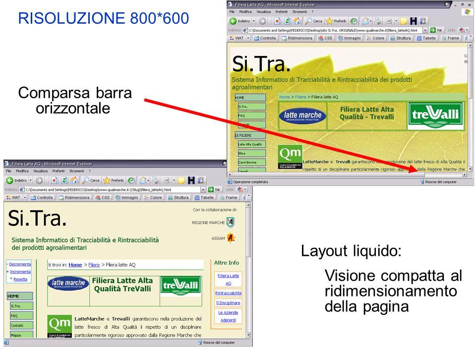 RISOLUZIONE 800*600 Comparsa barra orizzontale Layout liquido: Visione compatta al ridimensionamento della pagina