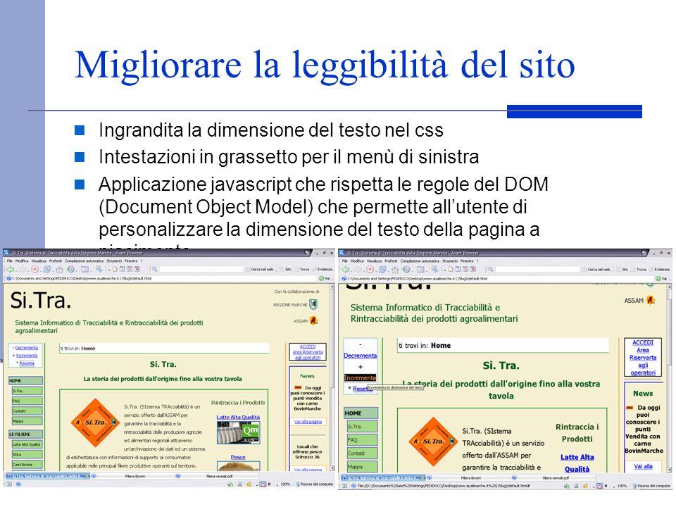 Migliorare la leggibilità del sito Ingrandita la dimensione del testo nel css Intestazioni in grassetto per il menù di sinistra Applicazione javascrip