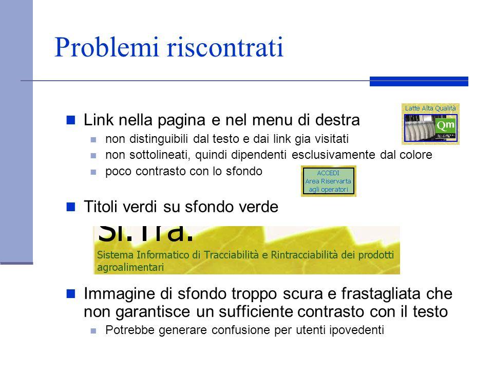 Problemi riscontrati Link nella pagina e nel menu di destra non distinguibili dal testo e dai link gia visitati non sottolineati, quindi dipendenti es