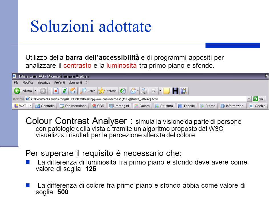 Soluzioni adottate Utilizzo della barra dellaccessibilità e di programmi appositi per analizzare il contrasto e la luminosità tra primo piano e sfondo
