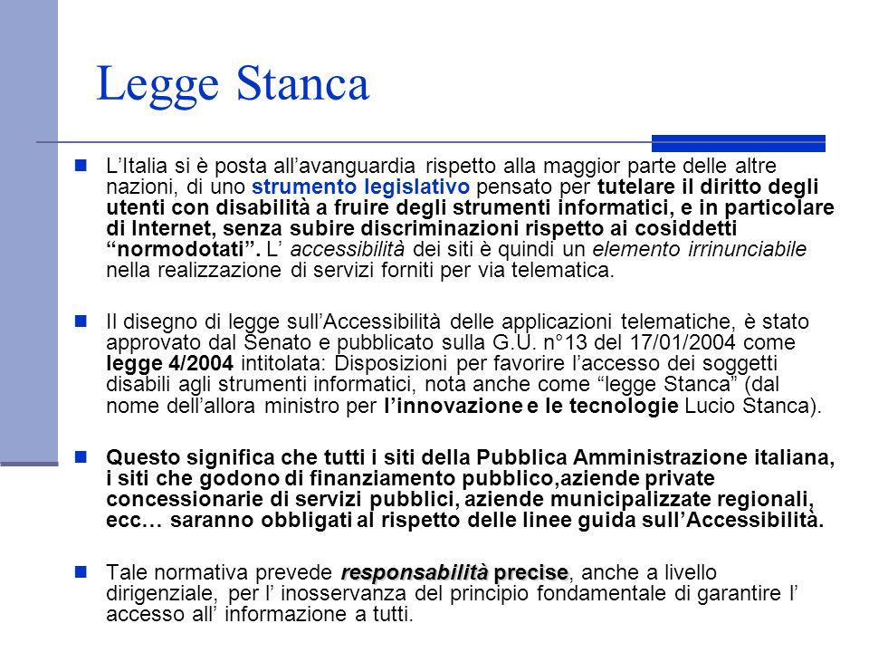 Legge Stanca LItalia si è posta allavanguardia rispetto alla maggior parte delle altre nazioni, di uno strumento legislativo pensato per tutelare il d