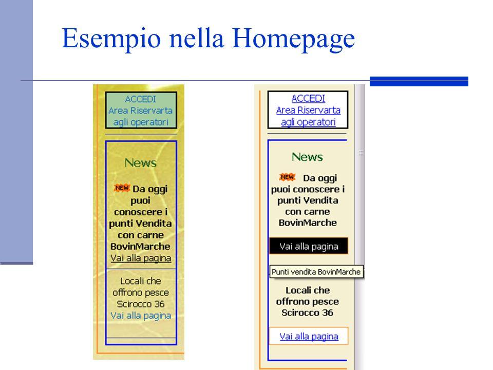 Esempio nella Homepage
