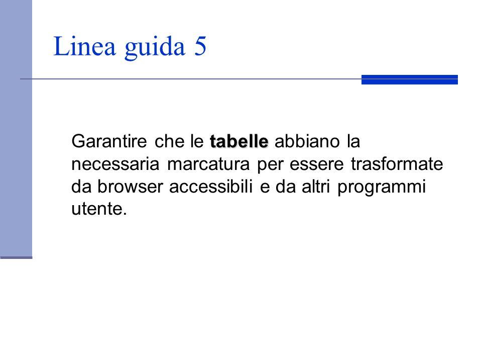 Linea guida 5 tabelle Garantire che le tabelle abbiano la necessaria marcatura per essere trasformate da browser accessibili e da altri programmi uten