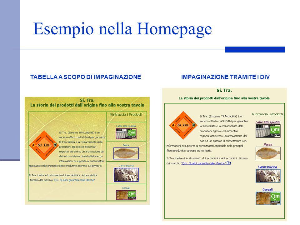 Esempio nella Homepage TABELLA A SCOPO DI IMPAGINAZIONEIMPAGINAZIONE TRAMITE I DIV