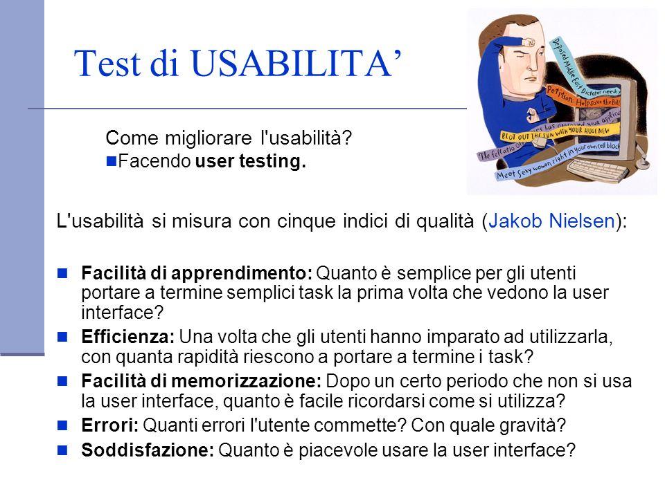 Test di USABILITA L'usabilità si misura con cinque indici di qualità (Jakob Nielsen): Facilità di apprendimento: Quanto è semplice per gli utenti port