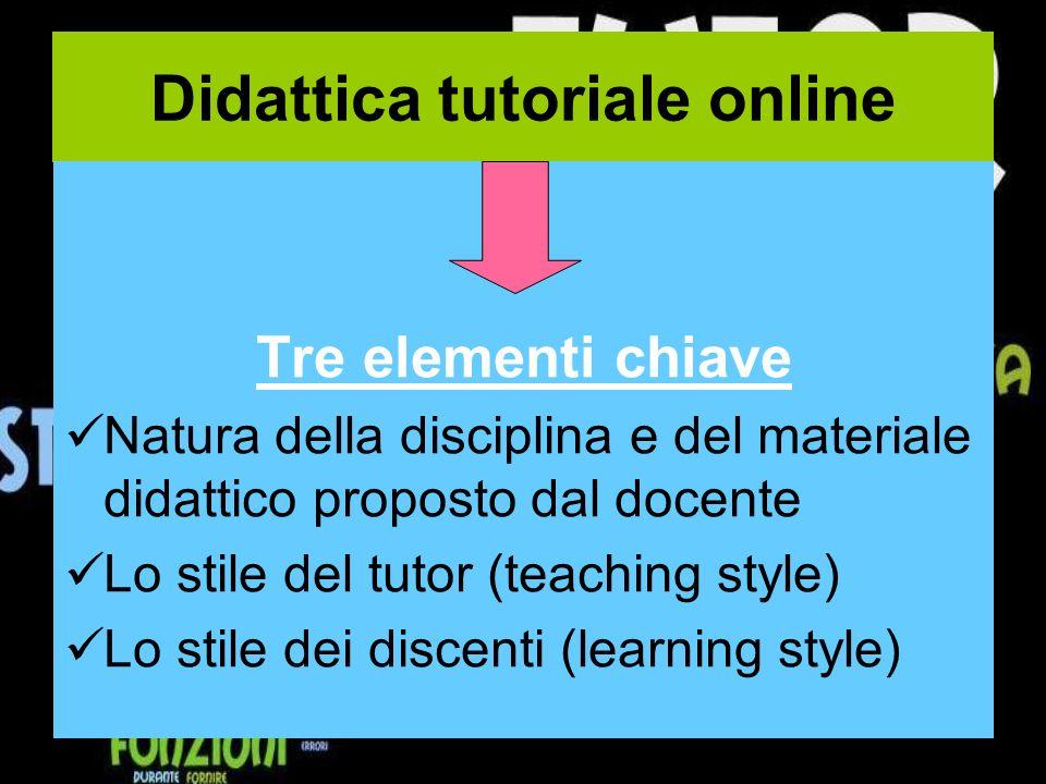 Didattica tutoriale online Tre elementi chiave Natura della disciplina e del materiale didattico proposto dal docente Lo stile del tutor (teaching style) Lo stile dei discenti (learning style)