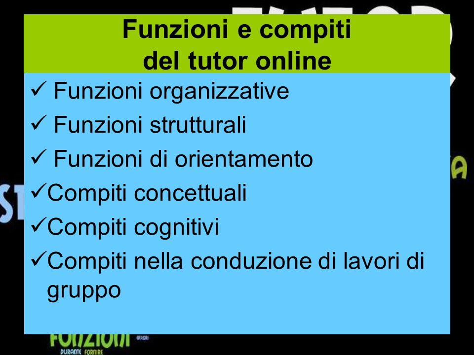 Funzioni e compiti del tutor online Funzioni organizzative Funzioni strutturali Funzioni di orientamento Compiti concettuali Compiti cognitivi Compiti nella conduzione di lavori di gruppo