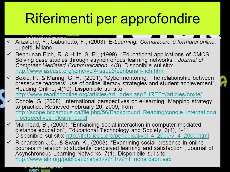 Riferimenti per approfondire Anzalone, F., Caburlotto, F., (2003), E-Learning.