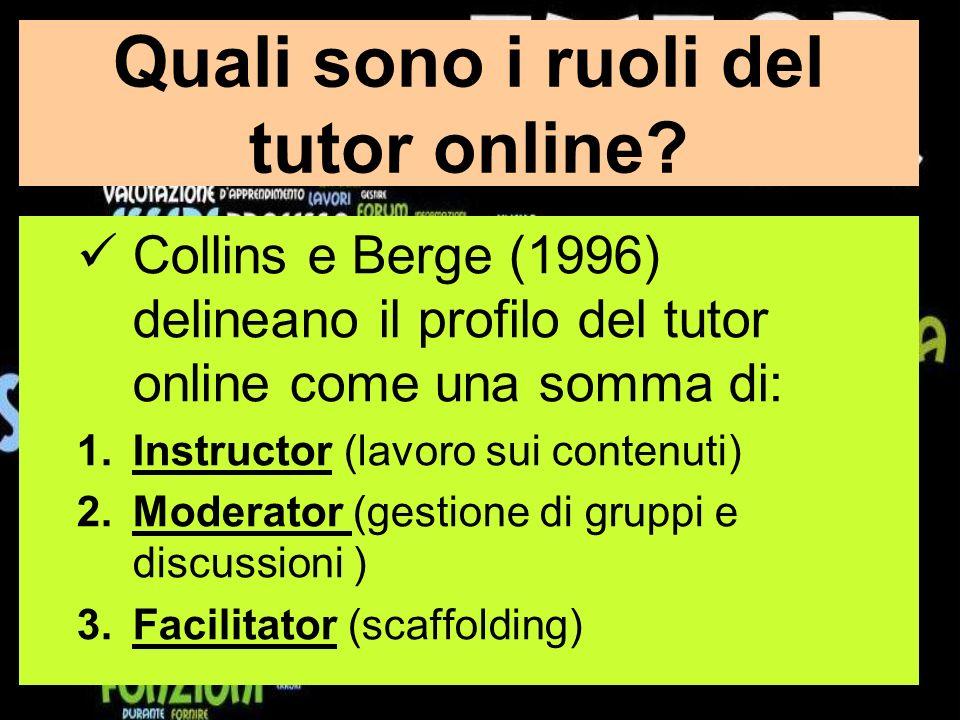 Quali sono i ruoli del tutor online.