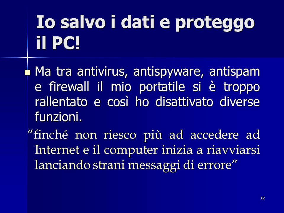 12 Io salvo i dati e proteggo il PC! Ma tra antivirus, antispyware, antispam e firewall il mio portatile si è troppo rallentato e così ho disattivato