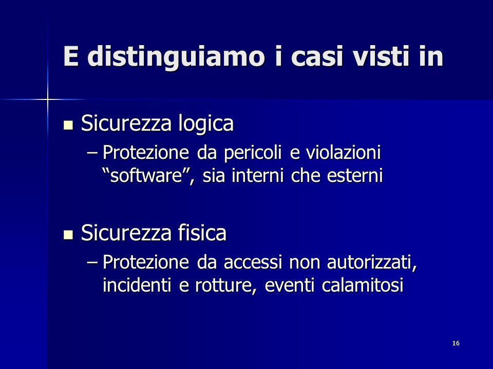 16 E distinguiamo i casi visti in Sicurezza logica Sicurezza logica –Protezione da pericoli e violazioni software, sia interni che esterni Sicurezza f
