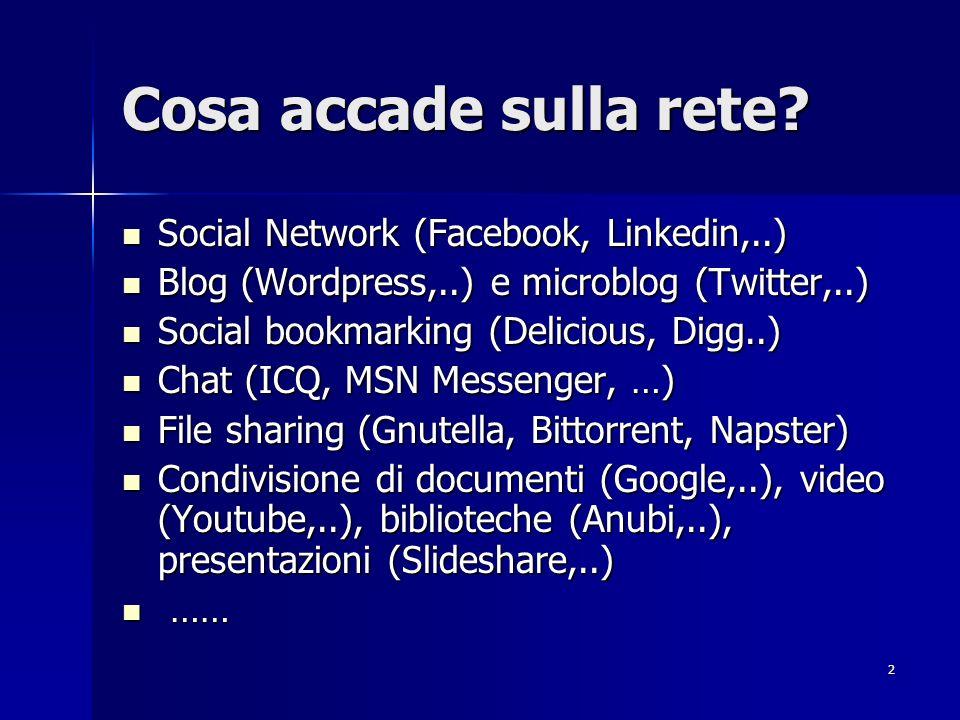 2 Cosa accade sulla rete? Social Network (Facebook, Linkedin,..) Social Network (Facebook, Linkedin,..) Blog (Wordpress,..) e microblog (Twitter,..) B