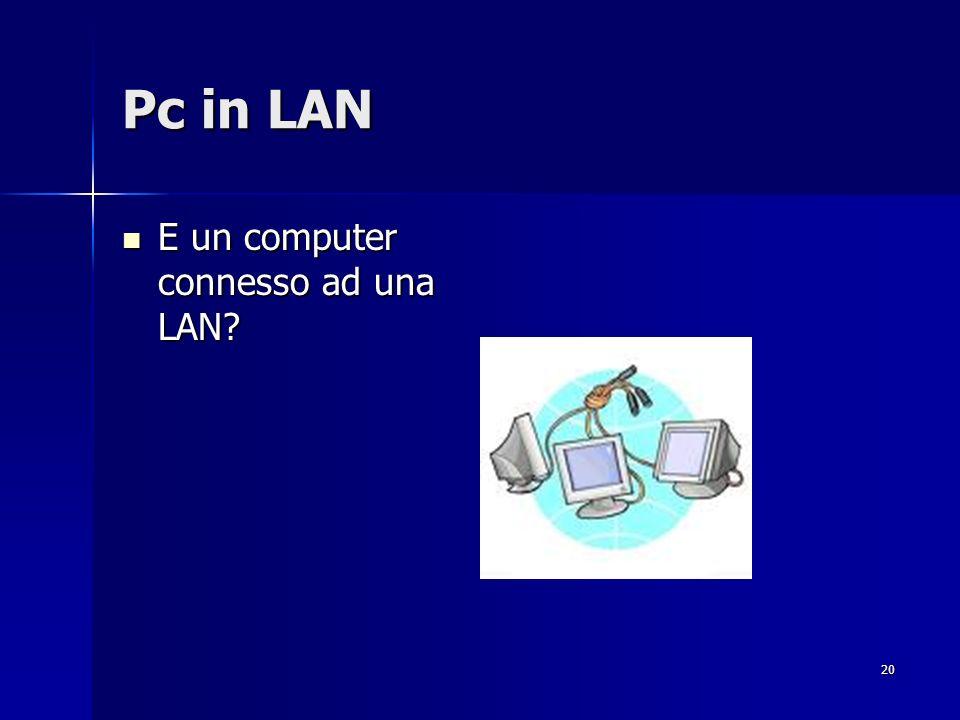 20 Pc in LAN E un computer connesso ad una LAN? E un computer connesso ad una LAN?