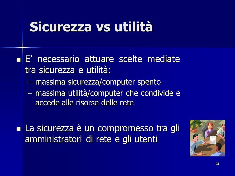 23 Sicurezza vs utilità E necessario attuare scelte mediate tra sicurezza e utilità: E necessario attuare scelte mediate tra sicurezza e utilità: –mas