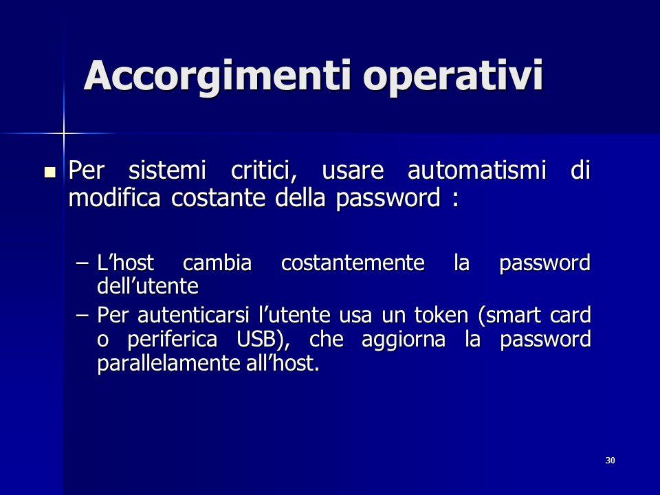 30 Accorgimenti operativi Per sistemi critici, usare automatismi di modifica costante della password : Per sistemi critici, usare automatismi di modif