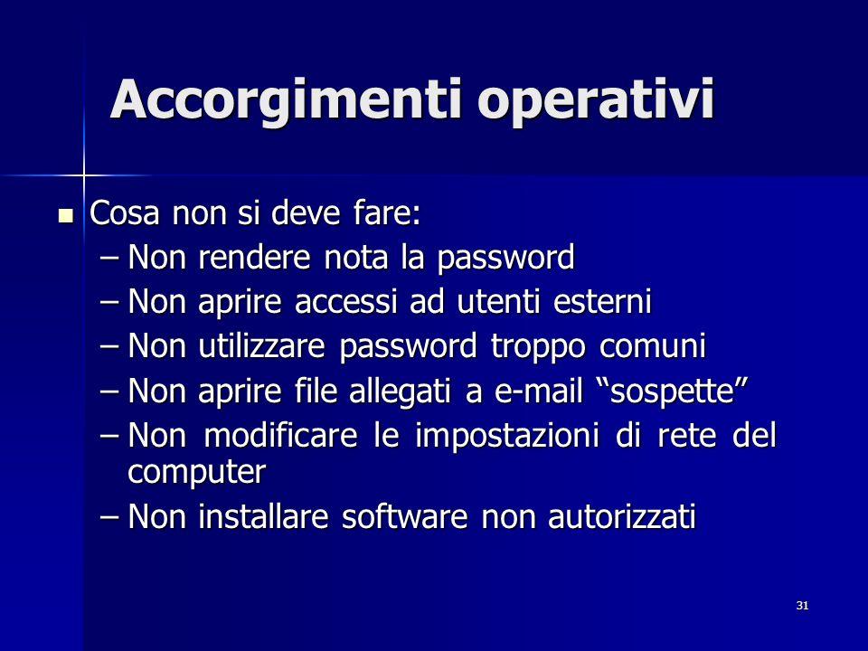 31 Accorgimenti operativi Cosa non si deve fare: Cosa non si deve fare: –Non rendere nota la password –Non aprire accessi ad utenti esterni –Non utili