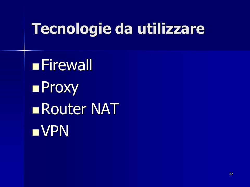 32 Tecnologie da utilizzare Firewall Firewall Proxy Proxy Router NAT Router NAT VPN VPN