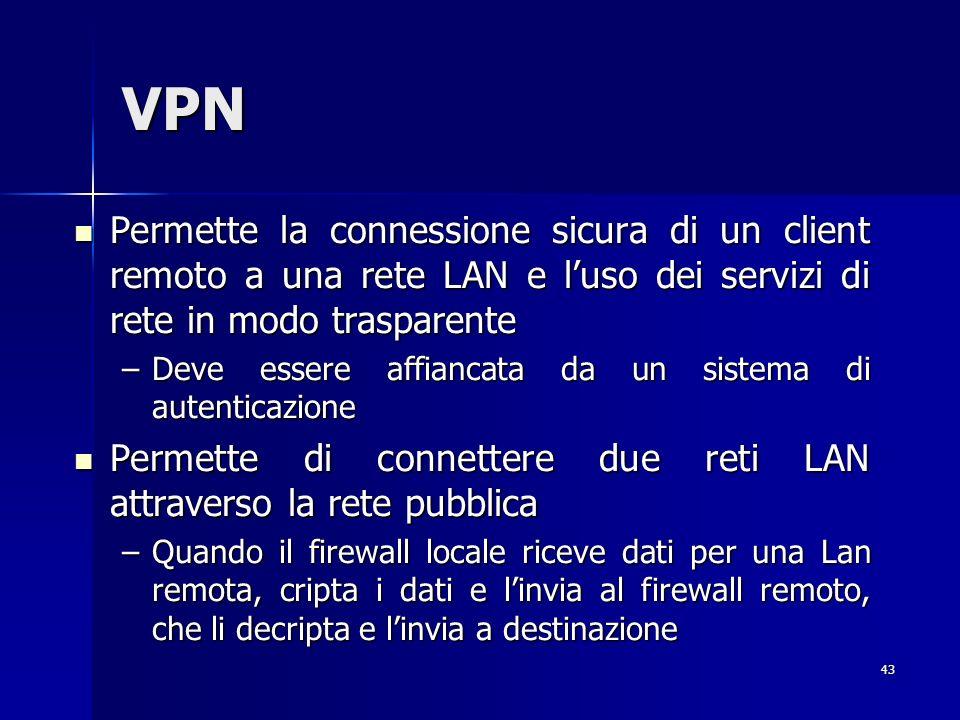 43 VPN Permette la connessione sicura di un client remoto a una rete LAN e luso dei servizi di rete in modo trasparente Permette la connessione sicura