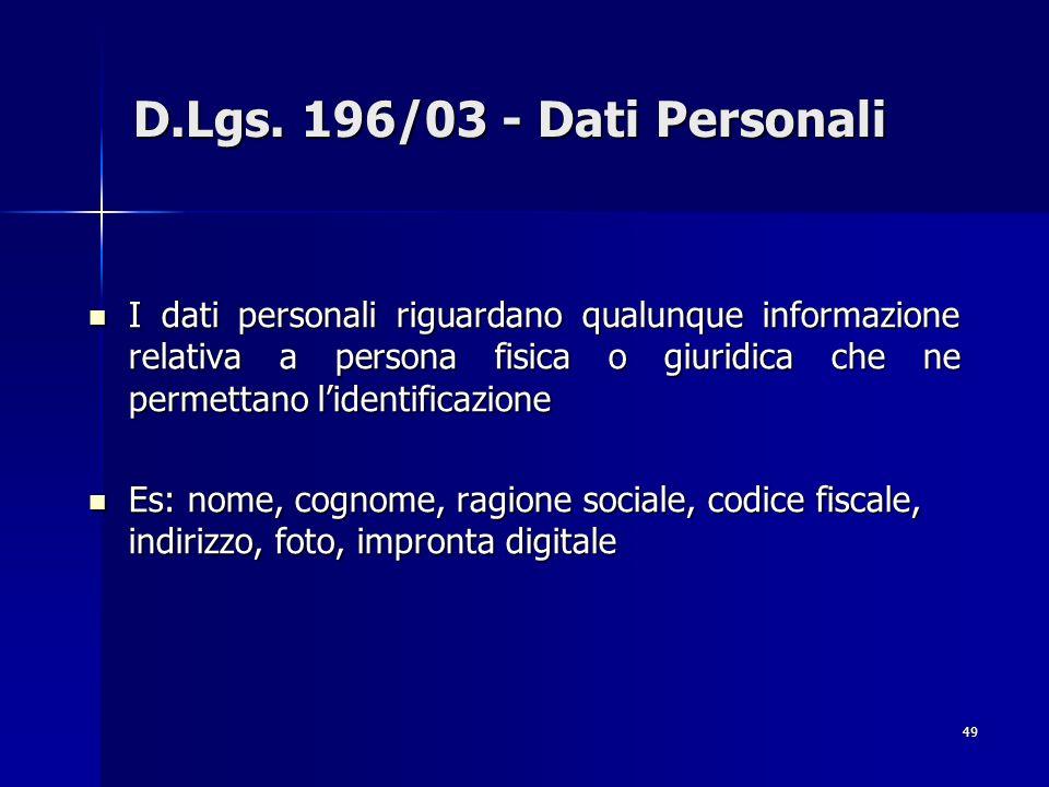 49 D.Lgs. 196/03 - Dati Personali I dati personali riguardano qualunque informazione relativa a persona fisica o giuridica che ne permettano lidentifi