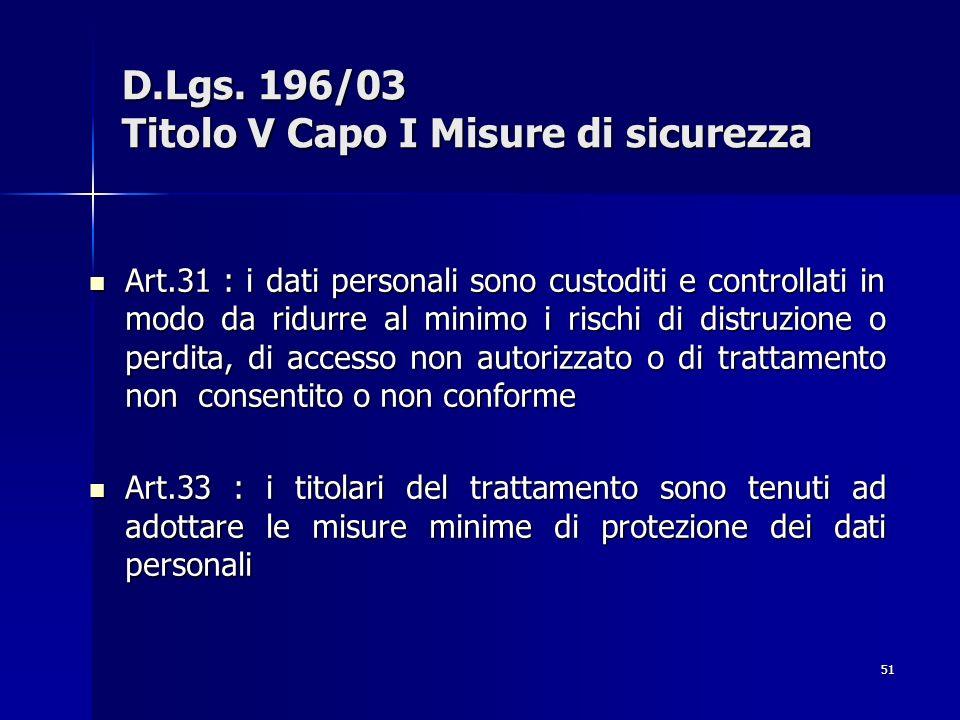 51 D.Lgs. 196/03 Titolo V Capo I Misure di sicurezza Art.31 : i dati personali sono custoditi e controllati in modo da ridurre al minimo i rischi di d